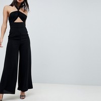 ASOS DESIGN Cross Front Jumpsuit With Twist Neck And Wide Leg at asos.com