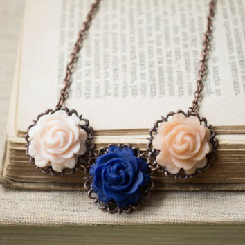 Romantic Polymer Clay Rose Statement Necklace. Flower Necklace. Antique Brass. Handmade Jewelry Flower Jewelry