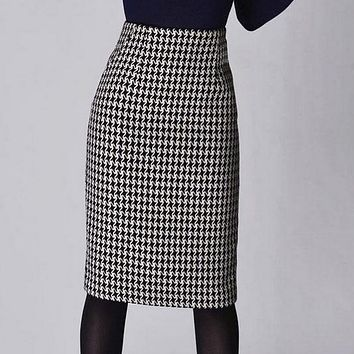 Fashion Women Spring Autumn Winter Houndstooth Skirt Slim Fit Formal Skirt Ladies Elegant High Waist Pencil Skirt Skirts Women