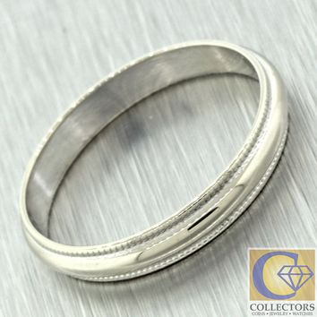 1970s Vintage Estate 14k Solid White Gold Simple Wedding Band Ring