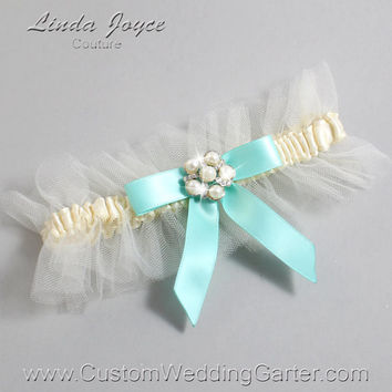"Ivory and Aqua Tulle Wedding Garter Bridal Garter ""Natalie"" Silver 871 Ivory 314 Aqua Blue Prom Luxury Garter Plus Size & Queen Size"