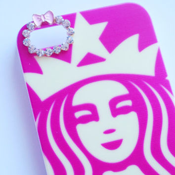 Iphone 6 Hot Pink Rhinestone Starbucks Inspired Hard Iphone 6 Cell Phone Case
