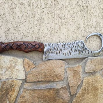 Kitchen axe, kitchen knife, viking axe, culinary gift, kitchen decor, carved knife, butcher, iron gift for him, cookware, chef axe,chef gift
