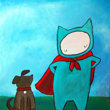 Whimsical Superhero and Dog Kids Wall Art Original Painting for Children Little Boys Room