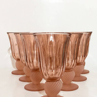 Fostoria Pink Glass Goblets, Set of 8 Fostoria Captiva Pink Wine Glasses, Vintage Stemware