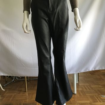 Vegan Leather Flared Pants
