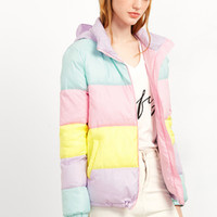 Color Block Zip Up Hooded Padded Jacket MULTI PASTEL | MakeMeChic.COM