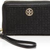 Tory Burch Wallet Bloomingdale's Exclusive Quilted Zip Wristlet Authentic New Black