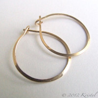 "Solid Gold Hoops - small hoop earrings 14k Gold simple classic gift basic lightly hammered 3/4"" .75"" (18mm 20mm) mother daughter Gift"