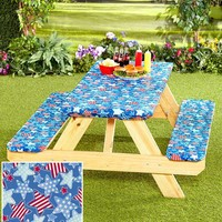 Picnic Table Cover Set 3 Pc Fits Standard Table Elastic Binding Camping Beach