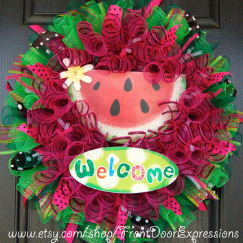 Watermelon Summer Mesh Wreath by FrontDoorExpressions on Etsy