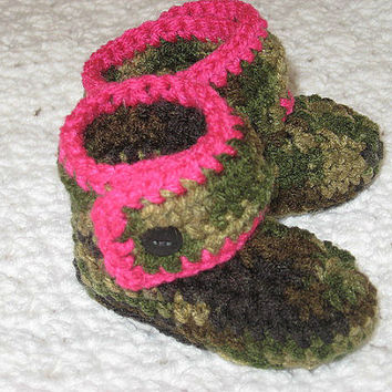 Infant Hunting Camo and Pink Baby Booties- Photo Prop Ready to ship