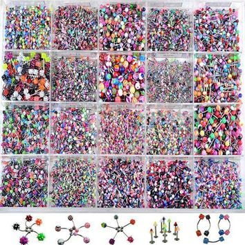110 Pcs Acrylic Stainless Steel Mix Eyebrow Belly Lip Tongue Bar Rings Nose Hoop Ring Body Piercing Jewelry Barbell Body Jewelry
