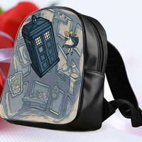 "Doctor Who Meets Disney Tardis and Alice in WOnderland for Backpack / Custom Bag / School Bag / Children Bag / Custom School Bag ""NP"""