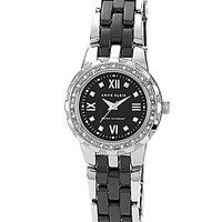 Anne Klein Silvertone & Black Link Bracelet Watch