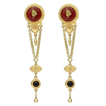Ben-Amun - Royal Charm Ruby Cameo Dark Stone Gold Drop Clip-On Earrings