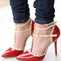 Val Studded Pump - Patent Red and Nude