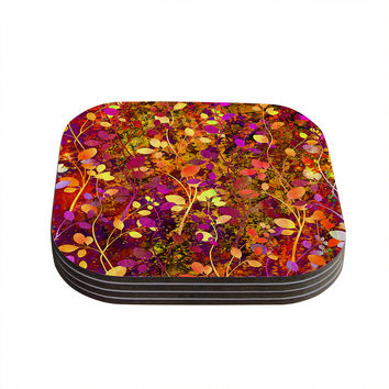"Ebi Emporium ""Amongst the Flowers - Warm Sunset"" Pink Orange Coasters (Set of 4)"