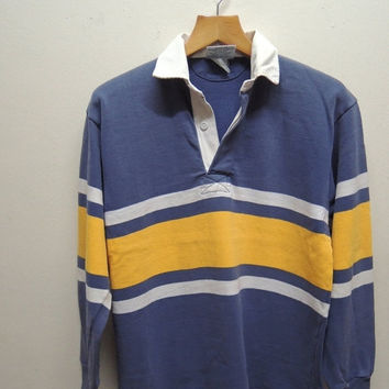 15% CRAZE SALE Vintage 90's Barbarian Rugby Wear Stripe Long Sleeve Polos Sport Street Wear Top Tee Size M