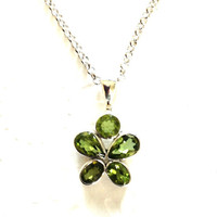Gemstone necklace / Green Peridot and sterling silver pendant necklace / Birthstone necklace / Bali Silver