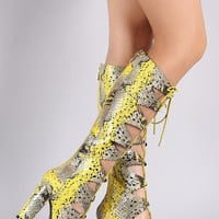 Python Perforated Scalloped Lace-Up Boots