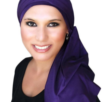 Heather  Jersey Turban, Head Wrap, Alopecia Scarf, Chemo Hat and Scarf Set