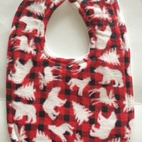 Baby bib buffalo plaid red black checkered feeding bib baby boy moose drool bib bear lumberjack baby child's toddler infant girl unisex baby