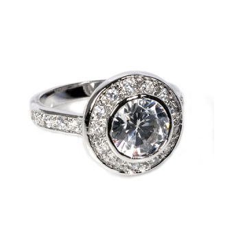 925 Sterling Silver CZ Mystere Style Ring 14MM