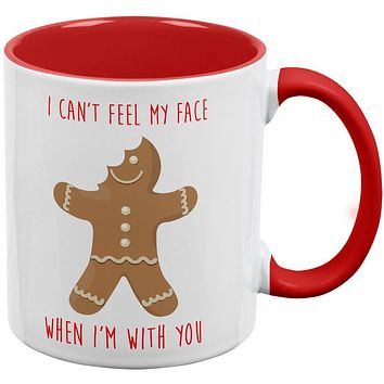 Christmas Gingerbread Man Can't Feel My Face Red Handle Coffee Mug
