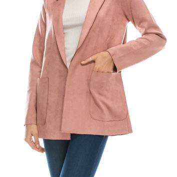 faux suede boyfriend blazer (4 colors)