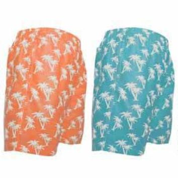 Boy's Palm Tree Print Swim Trunks with Multiple Pockets - CASE OF 48