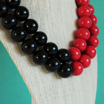 Midcentury Red & Black Lucite Double Strand Necklace