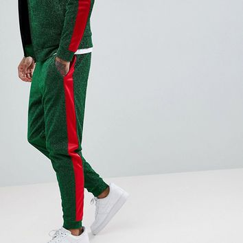 Jaded London Side Stripe Skinny Joggers In Green at asos.com