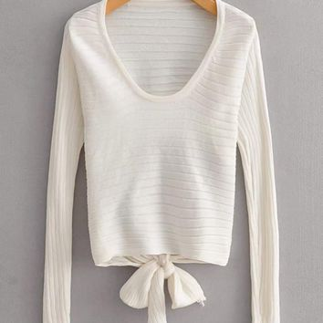 Open Back Knot Detail Sweater