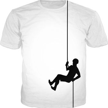 Climbing man tee shirt, black and white clipart design, funny sports clothing