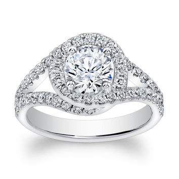 Ladies Platinum vintage antique split band halo engagement ring with natural 1ct Round White Sapphire center and 0.60 ctw G-VS2 diamonds