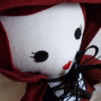Little Red Riding Hood Doll, Fairy Tale Themed, Modern Rag Doll, Soft Cloth Toy