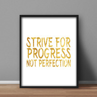 Motivational Wall Art Printable, Gold Foil Effect 'Strive for Progress not Perfection' Digital Poster, Downloadable Design, Home Decor, gift