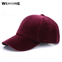 Wearzone 2017 Women Baseball Velvet Cap Soft Fashion Hats for Men Hip Hop Solid Color Vintage Warm Mens Baseball Caps Spring hat