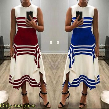 Fashionable Sexy Women's Dresses with Irregular Black-and-White Stripes Only one piece