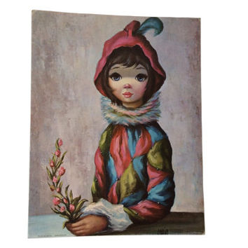 Retro Maio Big Eyes Litho Mardi Gras Girl Art Vintage Harlequin Clown Litho Print Wall Art Mid Century Wide Eye Sad Eye