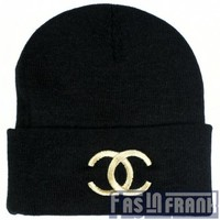 Chanel Gold on Black Beanie | F as in Frank Vintage Clothing