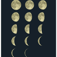 Moon Phases Large Poster  16x20 inches on A2. by mercimerci