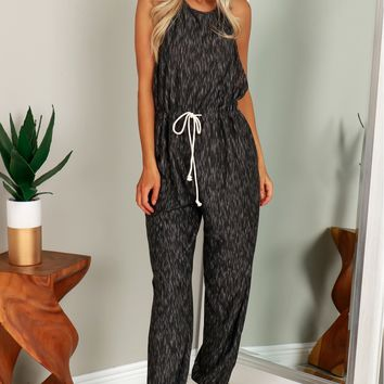 Knit Halter Jumpsuit Black