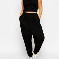 Plus Size Black Sleeveless Elastic Waist Jumpsuit