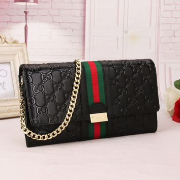 Gucci Fashion Women Men Leather Buckle Wallet Purse
