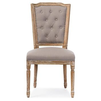 Baxton Studio Estelle Chic Rustic French Country Cottage Weathered Oak Beige Fabric Button-tufted Upholstered Dining Chair Set of 1