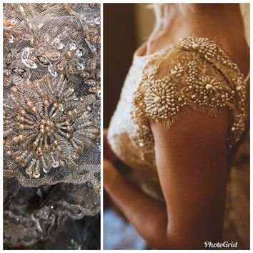 Beaded Pearl Scalloped Edges Wedding Lace Mesh Gold Silver Fabric