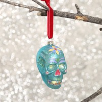 Sugar Skull Ornament - Blue - What's New at Gypsy Warrior