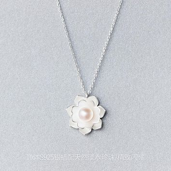 Real. 925 Sterling Silver Jewelry Lotus White Shell Pearl Necklace Pendant Charm Yoga gtlx614